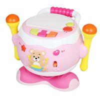 宝丽欢乐旋转鼓婴幼儿伴唱玩具 宝宝手拍鼓 卡拉OK麦克风乐器批发