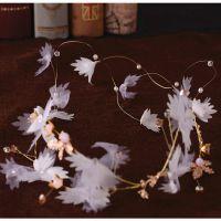 森系超仙公主手工新娘头饰白纱结婚发饰婚纱礼服配饰浅紫新娘饰品