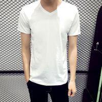 韩版男装男士短袖t恤V领紧身黑白纯色体恤修身打底衫夏季半袖衣服