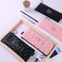 新款初中高中学生皮笔袋铅笔盒简约女孩日韩国创意
