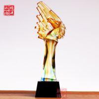 上海琉璃奖杯批发 保险公司季度评比销售冠军奖高档琉璃奖杯定制