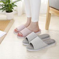 新款日系四季亚麻拖鞋细条纹厚底防滑家居室内木地板凉拖鞋夏季批