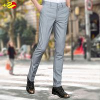 夏季薄款休闲修身西裤韩版西装裤商务免烫上班正装裤灰色男士裤子