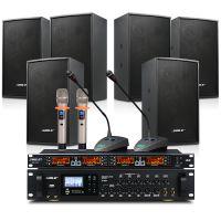 会议室音响套装 狮乐背景音乐蓝牙功放AV8820专业木制音箱BX208(黑色)无线话筒SH10设备