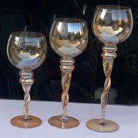 【珀霜】离子镀透明玻璃蜡台三件套 圆头麻花杆风灯烛台批发