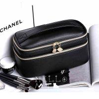供应十字纹PU化妆包日韩版双层大容量化妆箱可爱小方包