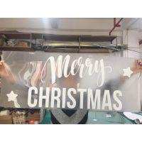 龙岗新发现商场圣诞节无气泡UV透明玻璃贴厂家
