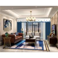 意法成品窗帘 环保健康布料新型窗帘制作产品城市风景-深蓝
