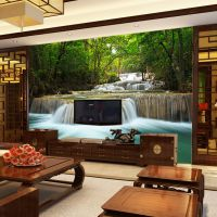 中式客厅大型3d墙纸立体电视背景墙壁画自粘无缝影视墙布壁纸山水