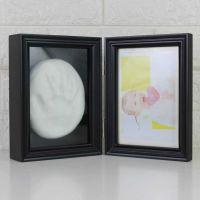 宝宝手脚印实木相框婴儿百天周岁纪念品折叠手脚印泥相框
