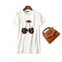 18夏季新品 衬肤提气色 醒目樱桃印花 圆领短袖宽松纯棉T恤上衣