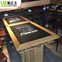 烧烤火锅餐桌厂家 实木边框大理石火锅烧烤两用桌 韩式自助烤肉桌子