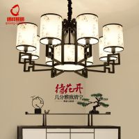 新中式客厅灯中式印花布艺卧室书房吊灯仿古餐厅茶楼会所工程灯具
