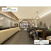南京特色菜馆桌椅批发,弧形卡座沙发餐桌椅子组合效果 韩尔现代品牌