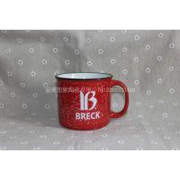淄博陶瓷厂家生产仿搪瓷马克杯,出口马克杯,创意流星雨陶瓷水杯