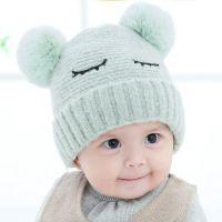 秋冬宝宝加绒毛线帽子3-6-12个月婴幼儿帽子0-1岁儿童保暖护耳帽