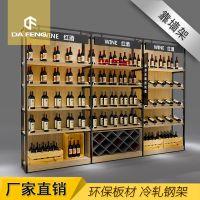 东莞厂家免漆板红酒货架 单面靠墙钢木货架白酒洋酒展示架 饮料酒类货架