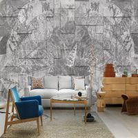 厂家定制灰色水泥墙工业风复古电视背景墙壁纸5d立体凹凸壁画批发