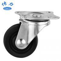 供应【橡胶轮】CMCL传力 1.5寸橡胶万向脚轮 直径40平板静音轮子S01532