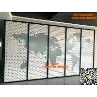 董事长办公室地图3D丝印铝单板_冲孔3D彩绘地图铝隔断生产厂商