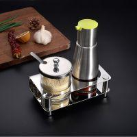 304不锈钢调味罐套装油醋瓶辣椒酱料壶玻璃盐罐餐厅调味厨房用品