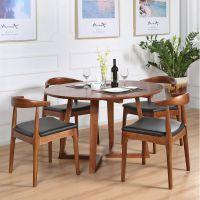 全实木餐桌简约圆形大圆桌 休闲咖啡厅桌椅组合4-6人圆桌