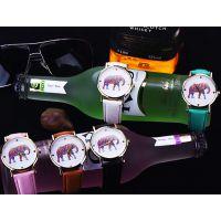 极简设计感 彩色大象图案皮带手表 休闲时装女表儿童表