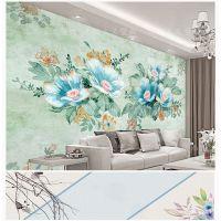 电视背景墙北欧美式田园花卉壁纸沙发墙布餐厅墙纸无纺布定制壁画