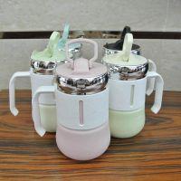 陶瓷杯创意带手机支架杯盖水杯色彩麦秆防烫手柄情侣大马克杯