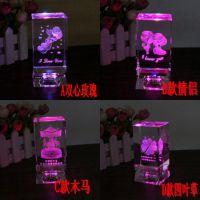 水晶底座款三维立体内雕玫瑰生日铁塔水晶礼品  带灯创意七彩水晶