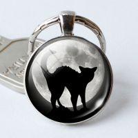 速卖通外贸饰品 万圣节 Black Cat 蝙蝠时光宝石钥匙扣钥匙链挂件