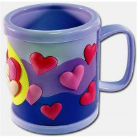pvc软胶心形杯套礼品,卡通农场PVC硅胶马克杯皮