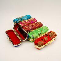 丝绸织锦缎带镜子单支口红盒首饰盒中式特色商务出国送老外小礼品
