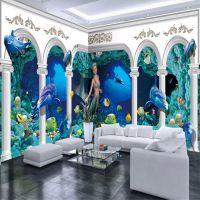 壁画原创海底世界罗马柱宫殿海豚全屋背景墙壁画大型无缝壁纸定制