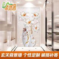 佛山浮雕立体花卉花瓶现代简约欧式玄关背景墙