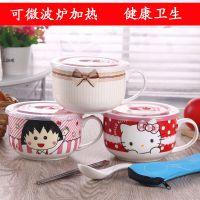 6英寸密封大碗泡面碗韩式大号陶瓷碗饭盒有带盖子可爱机器猫汤碗