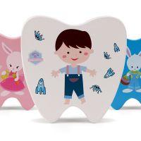 牙屋木制儿童彩色牙型牙屋乳牙保存盒宝宝牙齿牙屋珍藏收纳盒