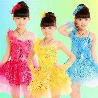 新款六一儿童演出服表演服舞台服装现代拉丁舞儿童舞蹈服亮片纱裙