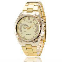 欧美热销男女石英瑞士合金手表 时尚金钢带手表 速卖通爆款