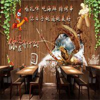 3D立体无纺布壁纸手绘木板小龙虾无缝壁画海鲜餐馆火锅店背景墙布