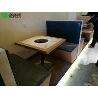 潮汕牛肉火锅店主题餐厅 实木封边大理石火锅餐桌椅定制 欧式实木椅