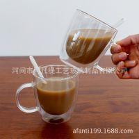 厂家生产高硼硅玻璃杯双层杯硅胶盖玻璃双层杯 耐热双层玻璃定制