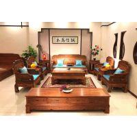 中山全实木刺猬紫檀新中式软体沙发***新价格 名琢世家