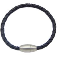 不锈钢磨砂磁铁扣搭配编织皮革情侣款手绳手带手链