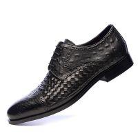 鸵鸟纹真皮男式正装皮鞋编织头层牛皮男士商务休闲鞋系带尖头男鞋