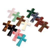 外贸新款 天然石十字架项链吊坠 Cross Pendant 绿松石毛衣链吊坠