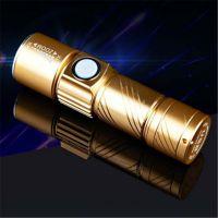 厂家批发 USB迷你手电铝合金电筒LED强光充电手电筒