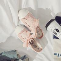 白鹿大人2018夏季新款女粉色半拖帆布鞋日系小白鞋硫化鞋瑞安工厂