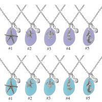 水蓝色 紫色 海玻璃项链海滩海玻璃珠宝海星美人鱼项链