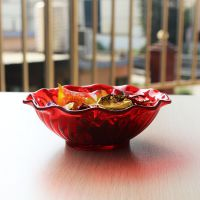 东莞创意红色塑料碗200ml条纹小吃碗AS彩色塑胶糖果碗现货直销